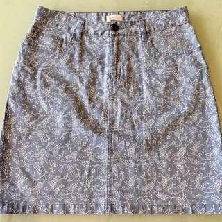 GORMAN Size 12 'Paisley Fields' Denim Skirt