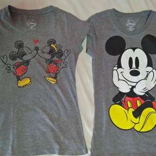 Lot of 2 Disney Mickey & Minnie gray shirts