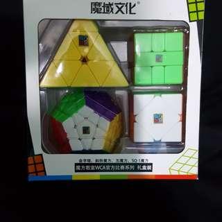 Rubix Magic Cube Puzzle Set of 4 Pyramid Megaminx Skewb SQ-1 Free Delivery