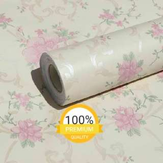 Wallpaper sticker dinding murah indah cream bunga pink