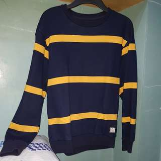 BLUE AND YELLOW STRIPE SWEATER