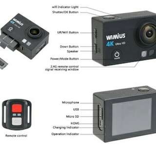 WiMiUS Q3 4K 30fps Ultra HD Waterproof Sports Action Camera 1080P 16MP WiFi With 2.0 LCD Display
