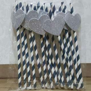 Glitter Heart Paper Straws