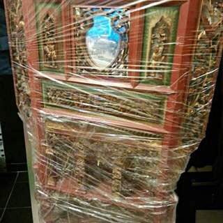 清代有鏡木雕洗面盆架