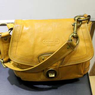Coach Mustard Yellow Leather Short Sling Bag