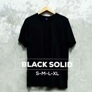 T-Shirt Polos || Black Solid || Pria Dan Wanita ||