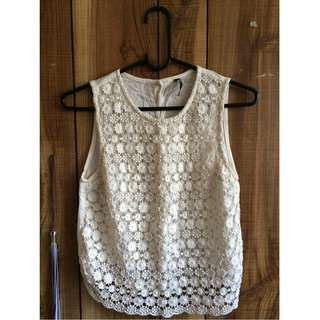 White lace sleeveless top (Dangerfield)