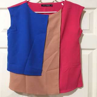 Philosophy Tricolor top (blue, beige and hot pink)