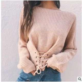 🚚 歐美款縮腰綁帶針織毛衣
