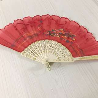 Foldable fan - red