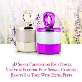 3D Smart Foundation Face Power Vibrator Electric Puff Sponge Cosmetic Beauty Spa Tool With Extra Puffs
