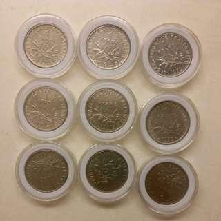 法國 法郎 舊錢幣 硬幣 franc