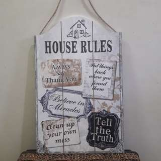 "Inspirational Wall Decor ""house rules"""