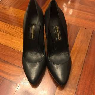 "Balman Black Leather 3.5"" Heels shoes"