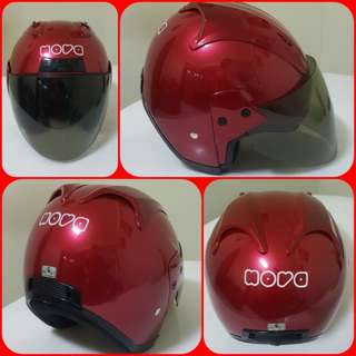 0502***NOVA Maroon Red with Tinted Visor Helmet For Sale 😁😁Thanks To All My Buyer Support 🐇🐇 Yamaha, Honda, Suzuki