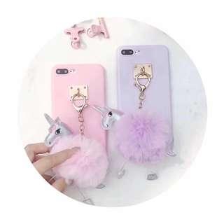 Casing Handphone - Cute Carton Unicorn Fur Ball Soft Tpu