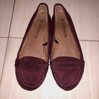 Maroon Cotton On Flat Shoes
