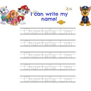 Paw Patrol: English Name & ABC Penmanship Handwriting Activity Worksheet