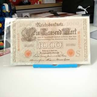 1910 old German banknote