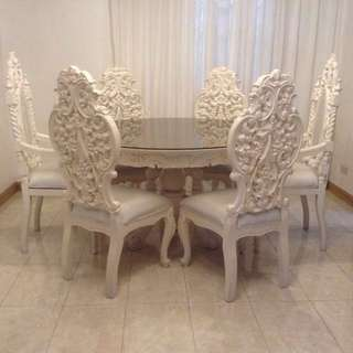 White Antique Round Narra Dining Set