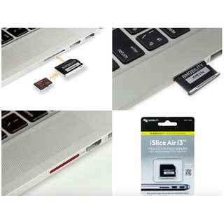MacBook救星,iSlice 轉接卡, 搭配家中的microSD卡,立即擁有第二硬碟,支持256G內存卡