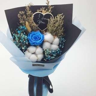 Valentine's Flower-Preserved Fresh Roses  (5cm Ecuador Rose) Bouquet (Size: Ht 43cm x w30cm)