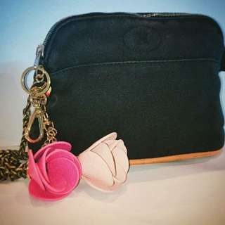 Hermes Black Canvas Mini Bolide Pouch Case Travel Bag