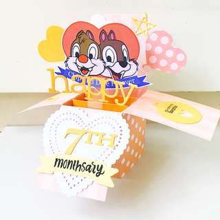 Happy 7th Monthsary in chip and dale handmade pop up card