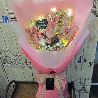 Large Dried Flower Bouquet with led Lighting and bunnies size : ht 62cm x w36cm)