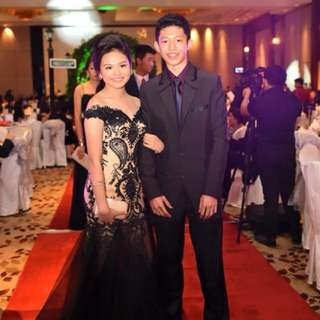 Black & Nude Gown For Rent
