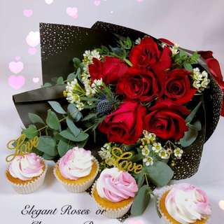 Valentines Rose bouquet with cupcakes