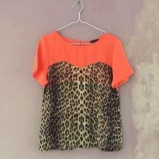 TOPSHOP Leopard Sheer Top 🍑