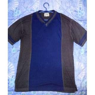 BASIX Blue and Dark Grey V-neck Shirt