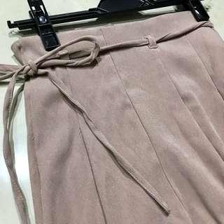 日本帶回煙燻粉高腰韓國絨寬褲