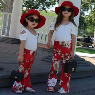 Baby Girl Bell Bottom Floral Long Pants 🍀
