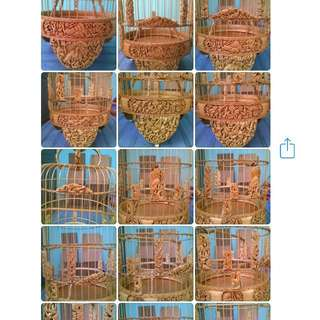 """8.5"""" Hand carved Phoenix theme Puteh cage"""