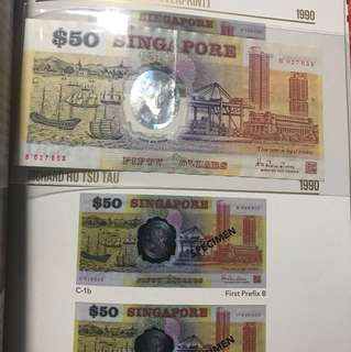 B first prefix Singapore Old Polymer 50 Dollar Note