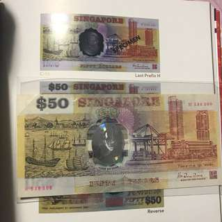 H last prefix with nice no 53 63  Singapore Old Polymer 50 Dollar Note