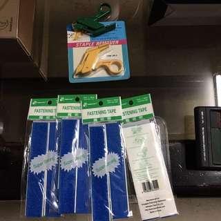 Stapler remover and fastening tape