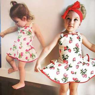 🌟INSTOCK🌟 Strawberry Fruits Strap Newborn Baby Toddler Girl Flare Party Dress Children Kids Clothing