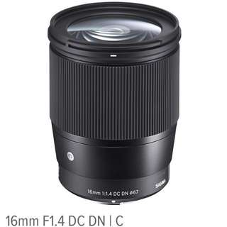LOOKING FOR sigma 16mm F1.4 DC DN (e mount)