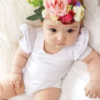 🌟INSTOCK🌟 White Cotton Ruffles Collar Newborn Baby Toddler Girl Everyday Romper Onesie Children Kids Clothing