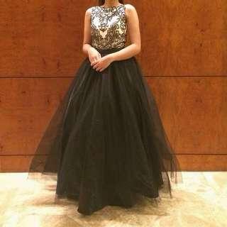 Sleeveless Beaded Dress with Black Mesh Ball Gown Skirt