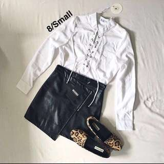 White Lace Up Long Sleeve Shirt Top