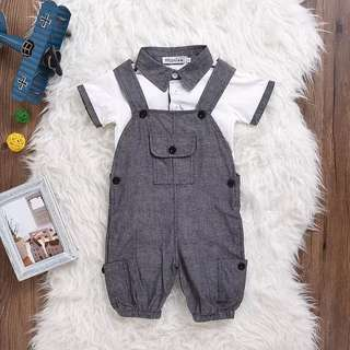 🌟INSTOCK🌟 2pc Grey Suspender Pants and White Collar Tshirt Top Set Newborn Baby Toddler Boy Children Kids Clothing