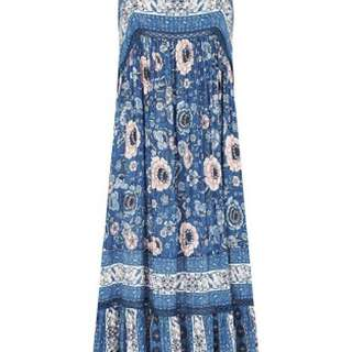 Cast Your Spell in this gypsy print Zahara midi dress in indigo. #Spell #boho #Zahara #Hippy