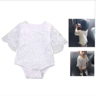 White lace dress romper (3 - 6 months)