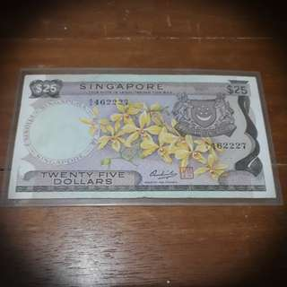 Orchid Series Rare $25 Dollars Note Singapre Currency