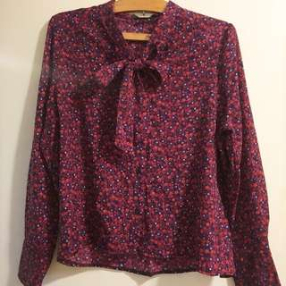 新年紅❣️花花蝴蝶結衫floral print blouse