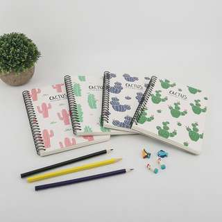 Cactus Pattern Spiral Ruled Notebook A5